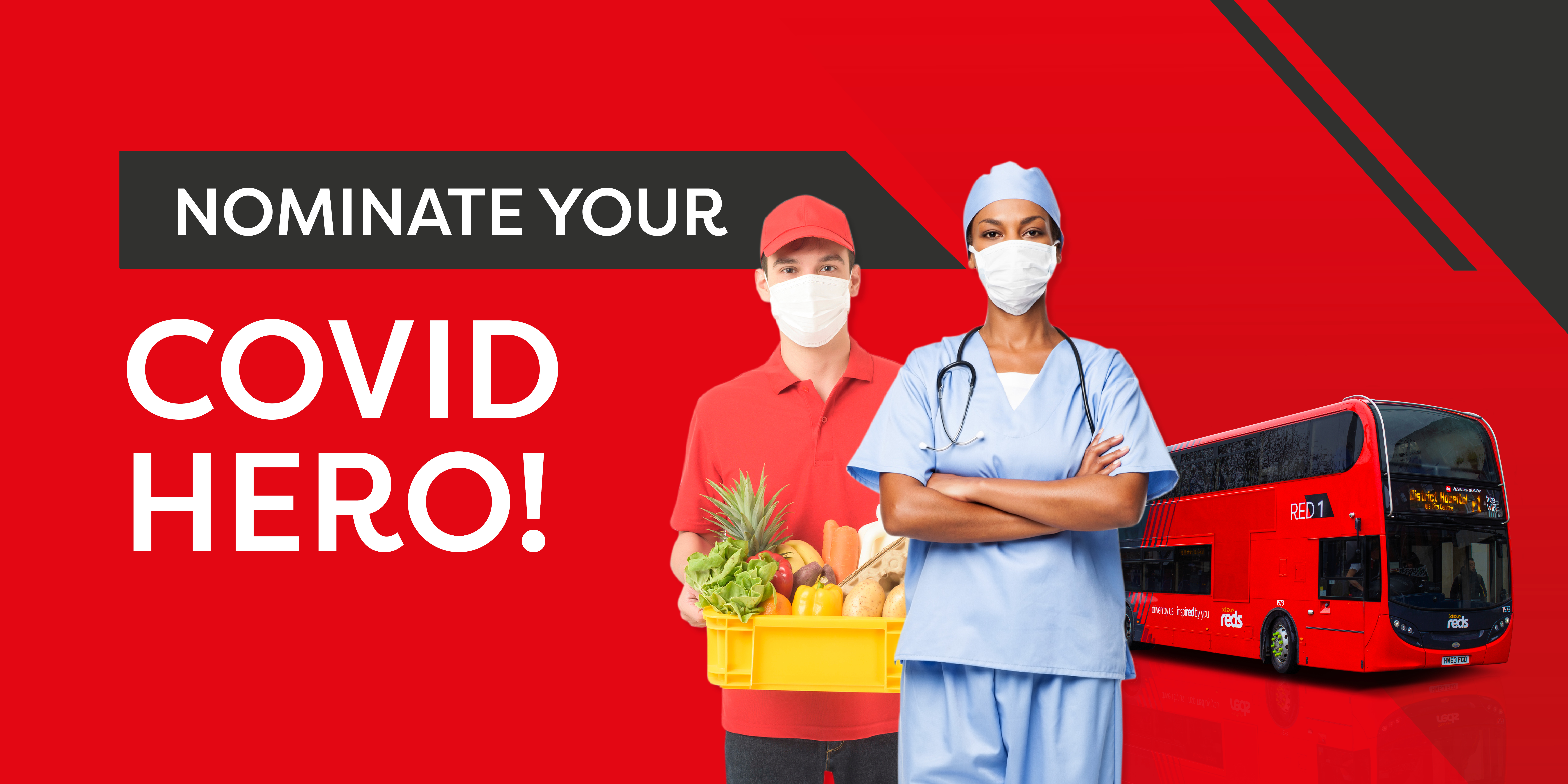 Image of a Salisbury Reds bus with a nurse and food delivery personnel with text reading, 'nominate your covid hero!'